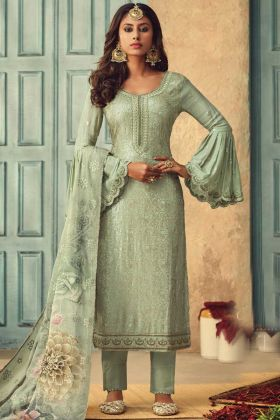 Sea Green Color Pure Chinon Salwar Suit
