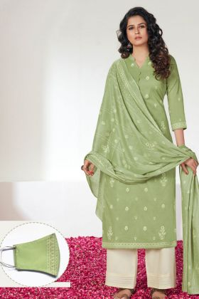 Sea Green Color Unstitched Dress Material With Matching Mask
