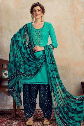 Sea Green Designer Pure Jam Cotton Patiala Salwar Suit