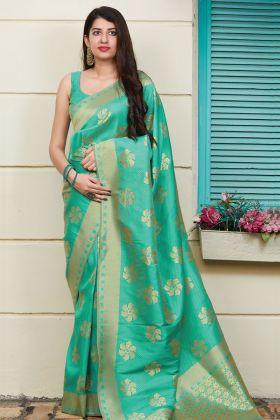Sea Green Festive Wear Weaving Silk Saree