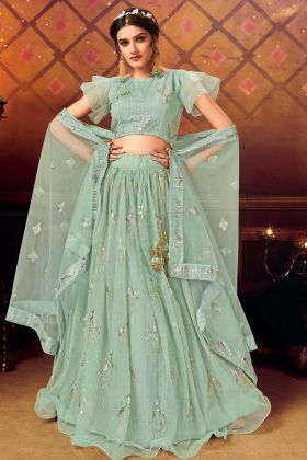 Sea Green Heavy Designer Lehenga Choli In Soft Net Fabric