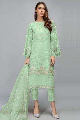 Sea Green Latest Designer Organza Pakistani Salwar Suit Online Store