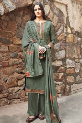 Sea Green Party Wear Semi Stitched Salwar Suit