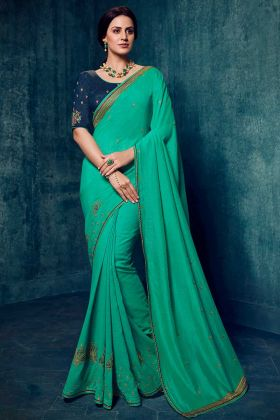 Sea Green Silk Embroidered Saree with Pure Silk Navy Blue Blouse