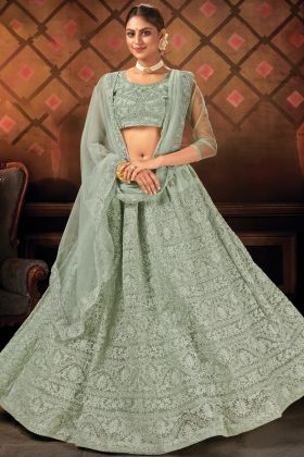 Sea Green Stitch Wedding Lehenga Choli In Soft Net Fabric