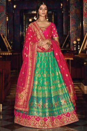 Sea Green Wedding Bridal Wear Designer Lehenga Choli In Silk Fabric