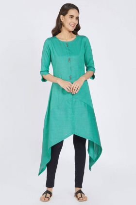 Sea Blue Color Polyester Kurti