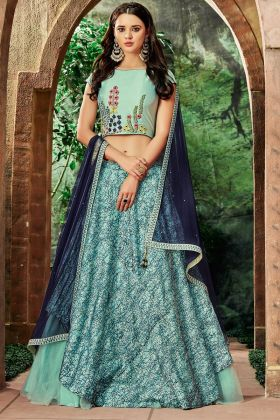 Sea Blue Color Silk Lehenga Choli