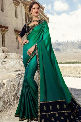Sea Green Barfi Silk Embroidery Saree