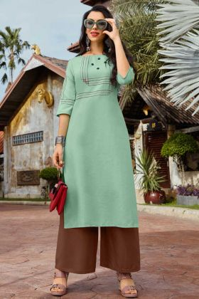 Sea Green Beautiful Palazzo Kurti