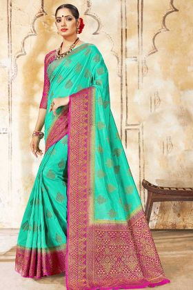 Sea Green Color Art Silk Designer Saree With Weaving Work