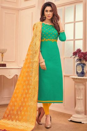 Sea Green Color Cotton Churidar Salwar Suit With Thread Embroidery Work