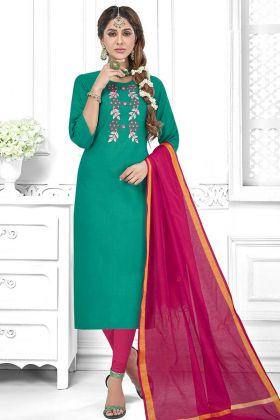 Sea Green Color Cotton Slub Churidar Dress With Thread Embroidery Work