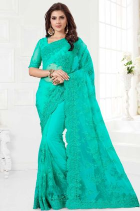 Sea Green Color Net Festival Saree