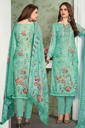 Sea Green Color Pant Style Suit Online