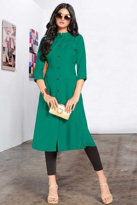 Sea Green Color Rayon Designer Plain Kurti For Girls