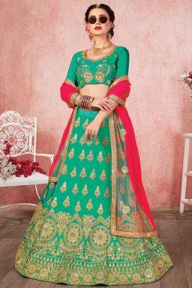 Sea Green Color Satin Silk Designer Lehenga Choli With Heavy Zari Embroidery Work