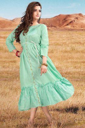 Sea Green Cotton Designer Kurtis For Women