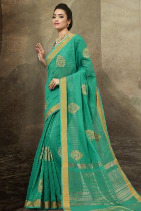 Sea Green Cotton Festive Saree Online