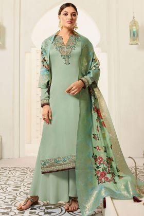 Sea Green Designer Party Wear Satin Georgette palazzo  Dress
