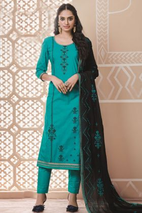 Sea Green Designer Pure Cotton Salwar Suit