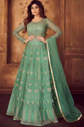 Sea Green Embroidery Net Wedding Anarkali Dress