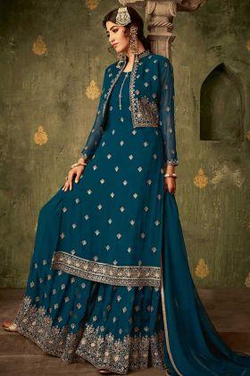 Sea Green Georgette Jacket Style Sharara Salwar Suit