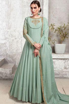 Sea Green Heavy Cotton Maslin Wedding Gown