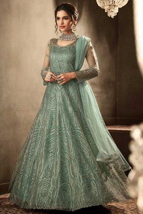 Sea Green Net Anarkali Salwar Suit With Heavy Embroidery Work