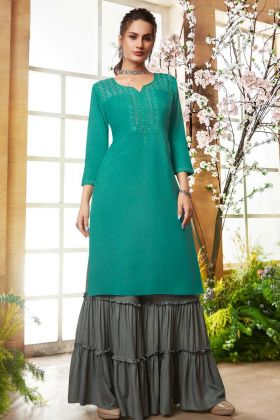 Sea Green Rayon Sharara Kurti