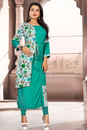 Sea Green Readymade Khadi Cotton Kurti