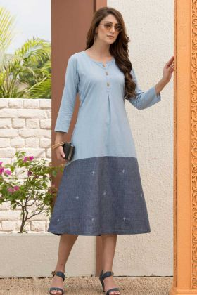 Self Cording Butti Denim Rayon Festival Kurti With Light Blue And Grey Color