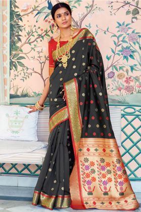 Self Weaving Work Black Pure Paithani Silk Paithani Saree