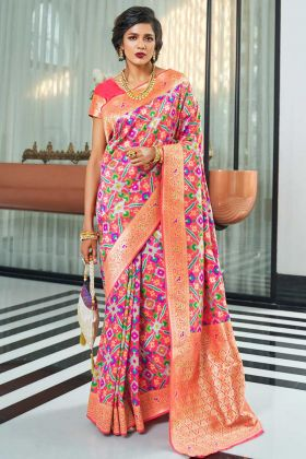 Self Weaving Work Pink Color Handloom Silk Festival Saree