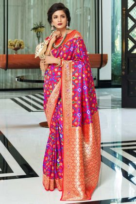Self Weaving Work Purple Color Handloom Silk Designer Saree