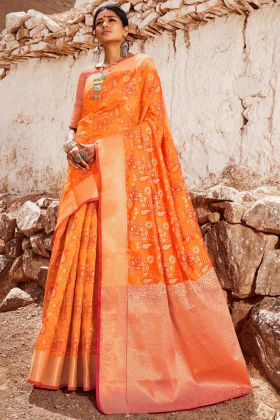 Self Weaving Work Yellow Color Handloom Silk Saree