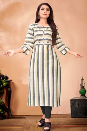 Semi-Casual Wear Designer Readymade Straight Kurti