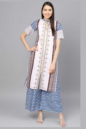 Semi-Casual Wear Readymade Pair Kurti Set In White And Blue