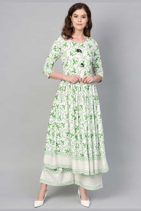 Semi-Casual Wear White And Green Designer Kurti Set