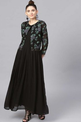 Semi-Casuals One Piece In Black Color With Printed Shrug