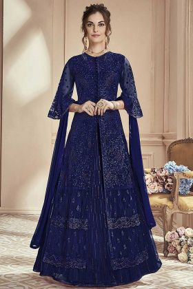 Semi Stitched Abaya style Gharara Suit Navy Blue Color