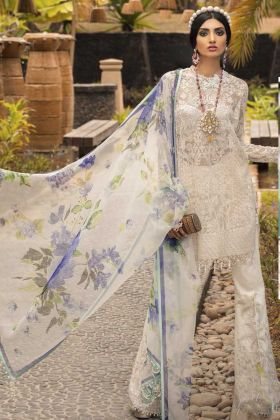 Semi Stitched Pakistani Dress Butterfly Net In Off White Color