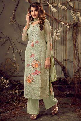 Semi Stitched Palazzo Salwar Kameez Georgette Fabric