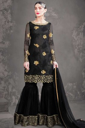 Semi Stitched Sharara Suit Net Black Color