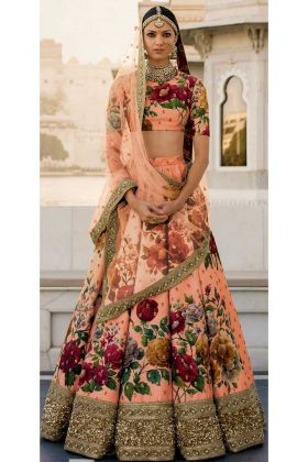Semi-Stitched Fine Art Silk Bridal Lehenga Choli Peach Color