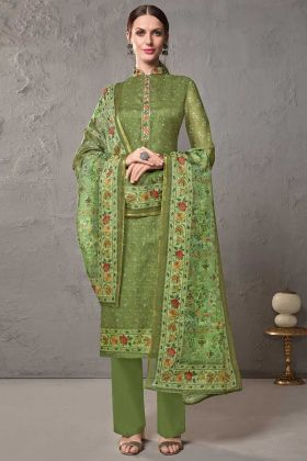Semi Stitched Casual Salwar Suit Cotton Silk In Green Color