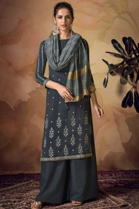 Semi Stitched Palazzo Salwar Suit Grey Color In Banarasi Viscose