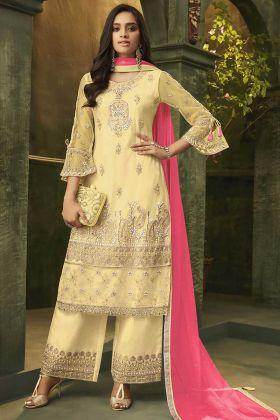 Semi Stitched Super Net Yellow Pakistani Palazzo Dress