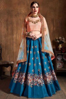 Sequence Work Blue Color Art Silk Wedding Lehenga Choli