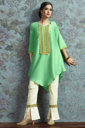 Sequence Work Light Green Color Modal Satin Designer Kurti Pair With Unstitched Bottom